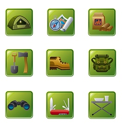 tourism equipment icon set vector image