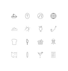 Travel and tourism linear thin icons set outlined vector