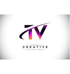 Tv t v grunge letter logo with purple vibrant vector