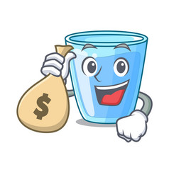 With money bag character glass of water for drink vector