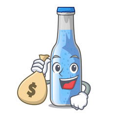 With money bag soda water and ice cubes cartoon vector