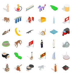 World culture icons set isometric style vector