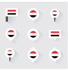 Yemen flag and pins for infographic and map design vector