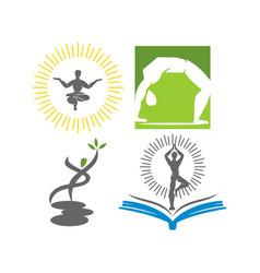 Yoga education logo design emblem meditation set vector