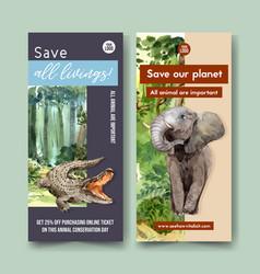 Zoo flyer design with crocodile elephant vector