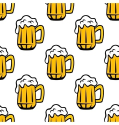 Beer tankards or mugs seamless pattern vector image
