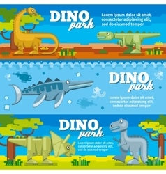 Dinosaur horizontal banners set in flat design vector image vector image