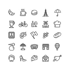 france travel signs black thin line icon set vector image vector image