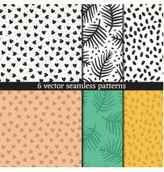 hand drawn seamless pattern set vector image