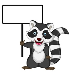 raccoon cartoon posing with blank sign vector image