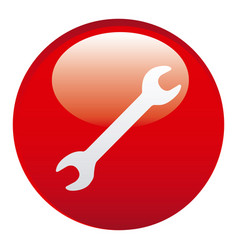 red wrench emblem icon vector image