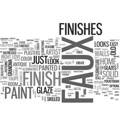 A sampler of faux finish techniques text word vector