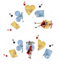 Four aces and Caucasian Joker playing cards noir vector image vector image