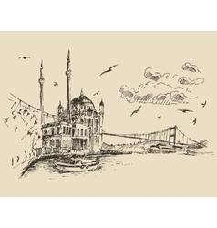 Istanbul Turkey City Bosphorus Vintage Engraved vector image