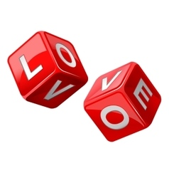 Red dice Love vector image