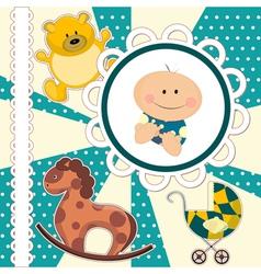 scrapbooking card for baby boy vector image