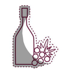 sticker wine bottle with grape fruit vector image