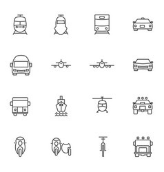 vehicle icon sets line icons vector image vector image