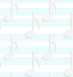 White 3D with colors music notes on blue stripes vector image vector image