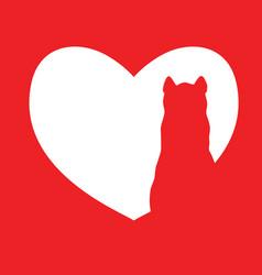 cute cartoon red cat in heart logo kids vector image