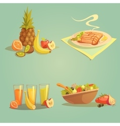 Healthy food and drinks cartoon set vector