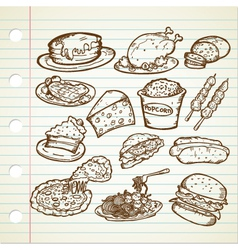 Junk Food Doodles vector image vector image