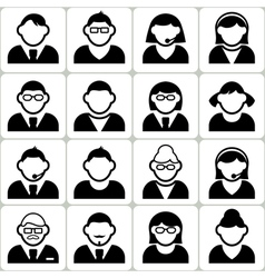 Male and Female User Icons Set vector image
