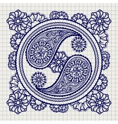 Ornate yin-yang sign on notebook background vector image vector image