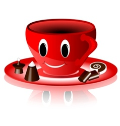 smiling red cup vector image