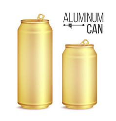 3d cans set gold yellow can beer lager vector image vector image