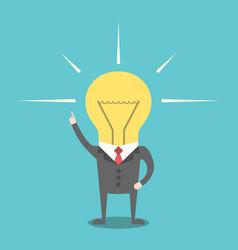 businessman with lightbulb head vector image vector image