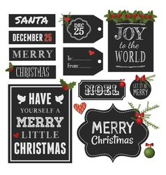 Chalkboard Style Christmas Retro Design Elements vector image vector image