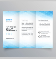 Elegant blue trifold brochure flyer design vector
