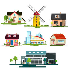 flat design buildings family house windmill and vector image