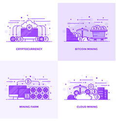 Flat line purple designed concepts 17 vector