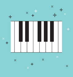 piano keyboard top view musical flat background vector image