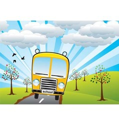 school bus and sunrise vector image vector image