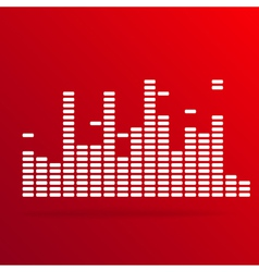 White digital equalizer background on red vector image vector image