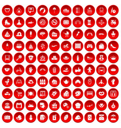 100 mother and child icons set red vector