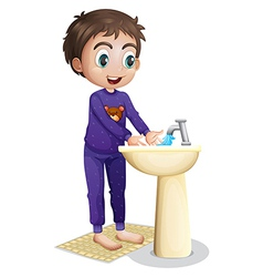 A boy washing his hands vector image