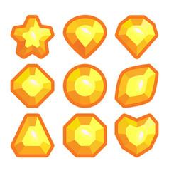 a set of yellow emblems of precious stones vector image
