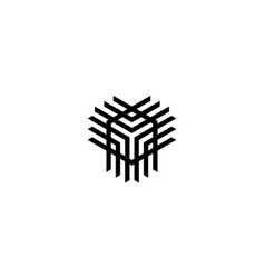 abstract cube line logo concept vector image