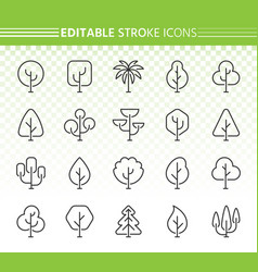 abstract tree simple black line icons set vector image
