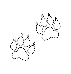 Animal tracks sign black dashed icon on vector
