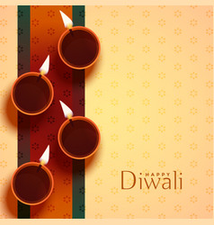 Auspicious happy diwali diya lamp decoration vector