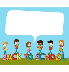 Back to school kids over text with social bubble vector image vector image