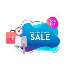 back to school sale dynamic style banner design vector image