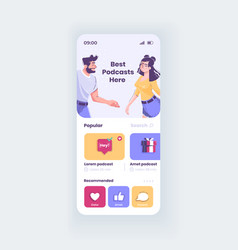 best podcasts app smartphone interface template vector image