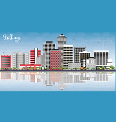Billings montana city skyline with color vector