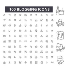 blogging editable line icons 100 set vector image